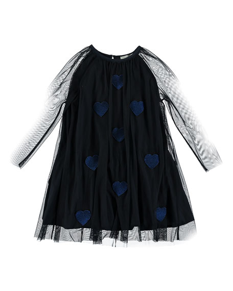 Heart Patch Long-Sleeve Tulle Dress, Size 4-14