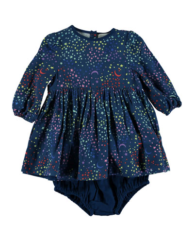 Star & Moon Print Long-Sleeve Dress, Size 12-36 Months