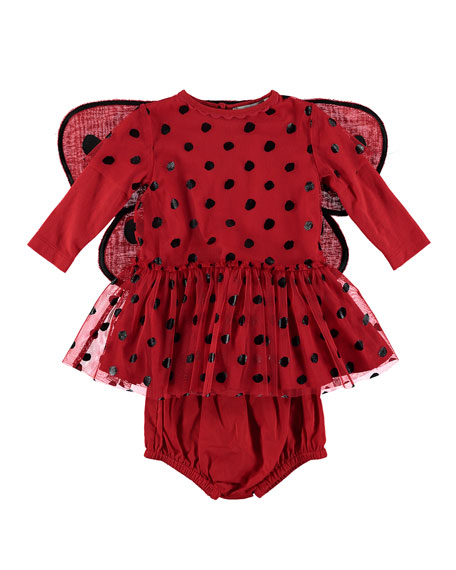 Ladybug Tulle Dress w/ 3D Wings, Size 6-36 Months
