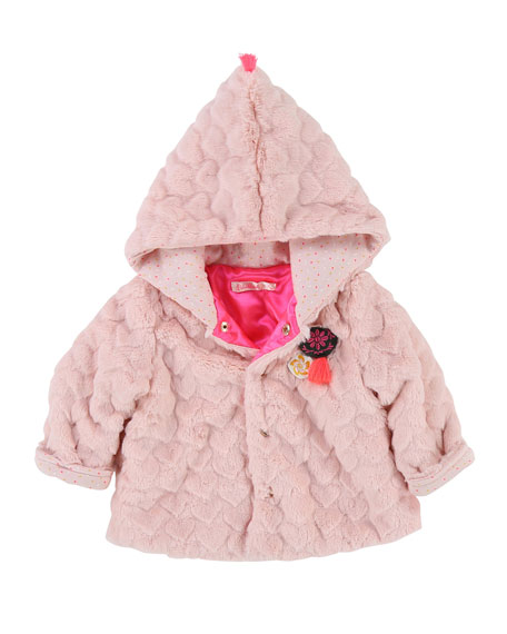 Faux-Fur Heart Quilted Jacket, Size 2-3