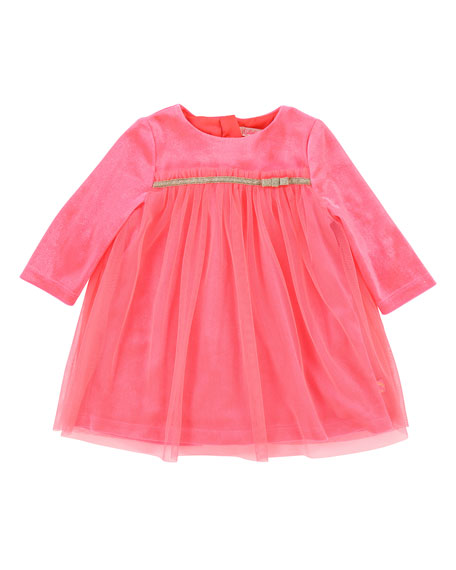 Long-Sleeve Velour & Tulle Dress, Size 12-18 Months