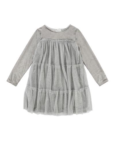 Long-Sleeve Velvet Dress w/ Tulle Overlay, Size 4-8