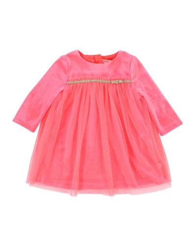 Long-Sleeve Velour & Tulle Dress, Size 2-3