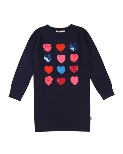 Long-Sleeve Knit Heart Dress, Size 4-8
