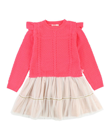 Knit Sweater Dress w/ Tulle Skirt, Size 4-8