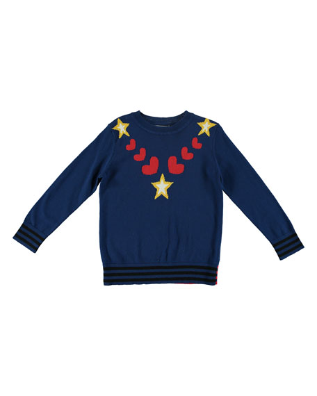 Stella McCartney Star & Heart Intarsia Knit Sweater,