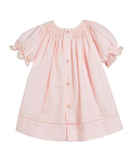 Button-Down Lace Trim Bishop Dress w/ Diaper Cover, Size Newborn-9M