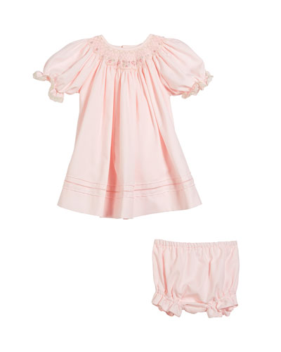Button-Down Lace Trim Bishop Dress w/ Diaper Cover, Size Newborn-9M