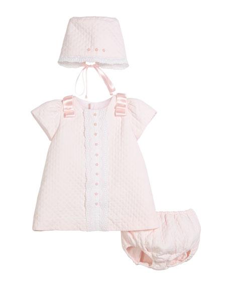 Luli & Me Pique Lace-Trim Dress w/ Bonnet