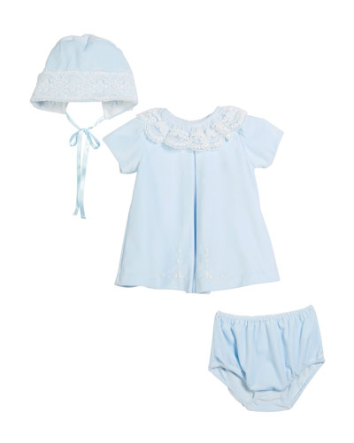 Velour Lace Dress w/ Hat & Diaper Cover, Size 3-24 Months