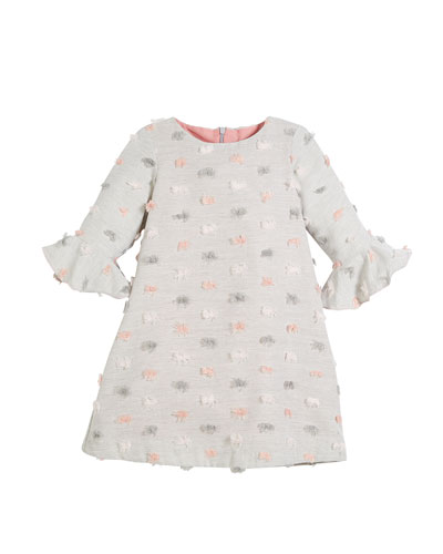 Fluted-Sleeves Furry Dot Dress, Size 4-6X