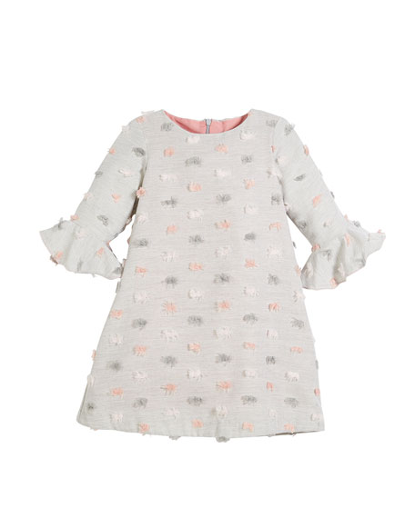 Luli & Me Fluted-Sleeves Furry Dot Dress, Size