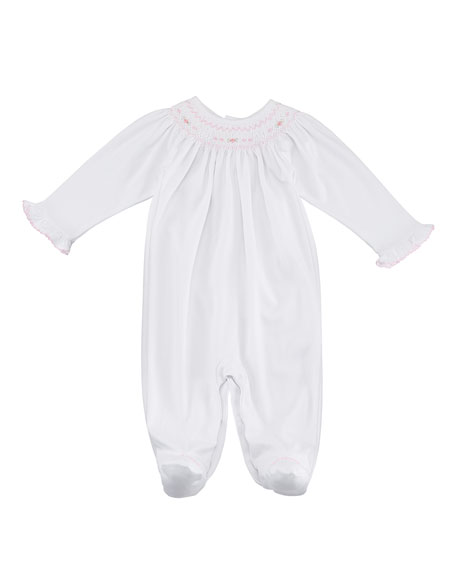 CLB Fall Bishop Smocked Footie Playsuit, Size Newborn-9M