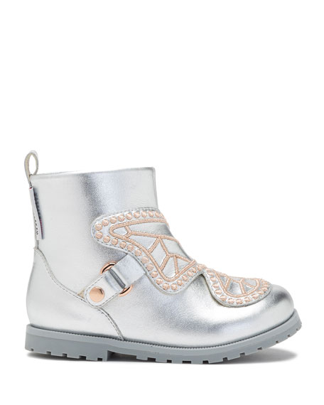 Karina Embroidered-Butterfly Metallic Leather Boots, Toddler/Kid