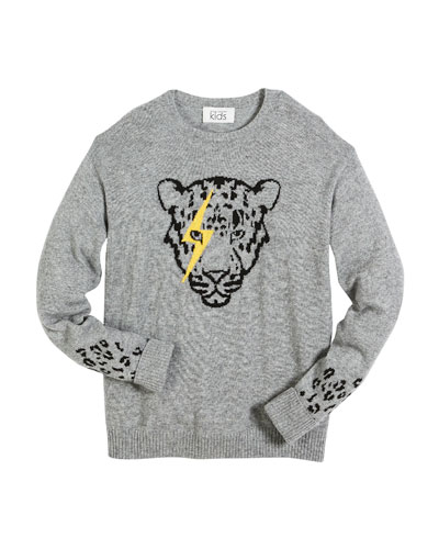 Lightning Eye Leopard Crew-Neck Sweater, Size 6-16