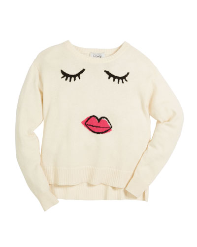 Girls Face Long-Sleeve Sweater, Size 6-16