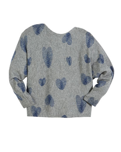 Thumbprint Hearts Dolman-Sleeve Sweater, Size 6-16
