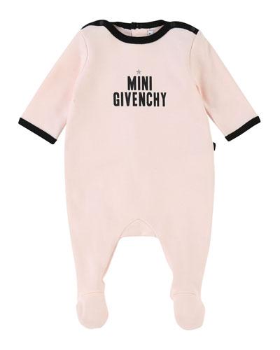 Mini Givenchy Contrast-Trim Footie Pajamas, Size 3-9 Months