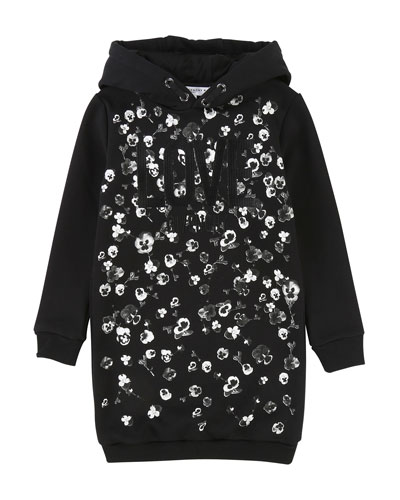 Love Givenchy Metallic Floral Hoodie Dress, Size 4-5