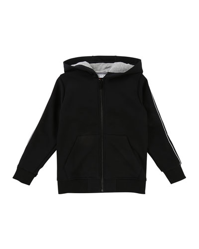 Zip-Up Hooded Jacket w/ Logo Sleeves, Size 6-10