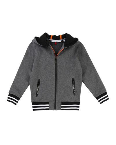 Hooded Zip-Up Jacket w/ Logo Back, Size 4-5
