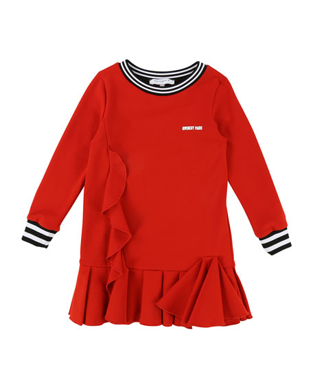 Milano Long-Sleeve Ruffle-Trim Dress, Size 4-5
