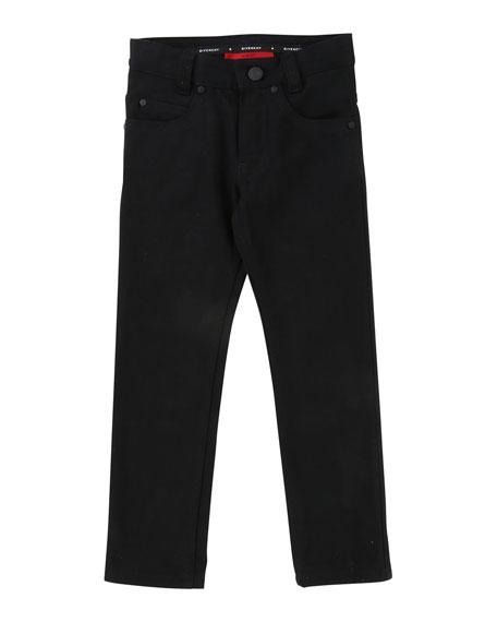 Givenchy Denim Pants w/ Back Leatherette Pocket, Size
