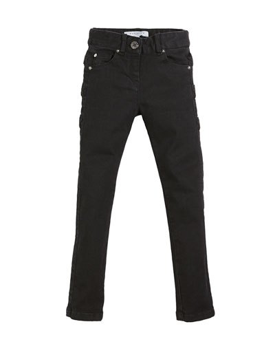 Slim-Fit Leather-Trim Denim Pants, Size 4-5