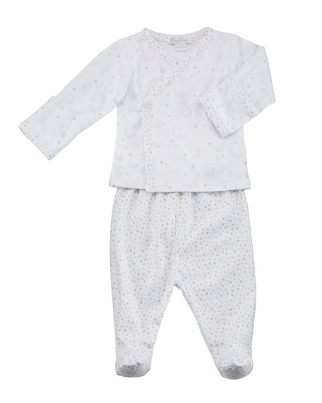 SWEET DREAMS PRINTED TOP W/ MATCHING FOOTED LEGGINGS, SIZE NEWBORN-6M