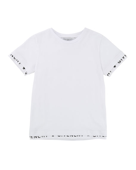 Short-Sleeve Tee w/ Logo Banded Detail, Size 6-10