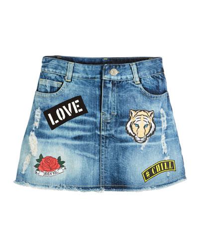 Raw-Hem Distressed Skirt w/ Patches, Size S-XL