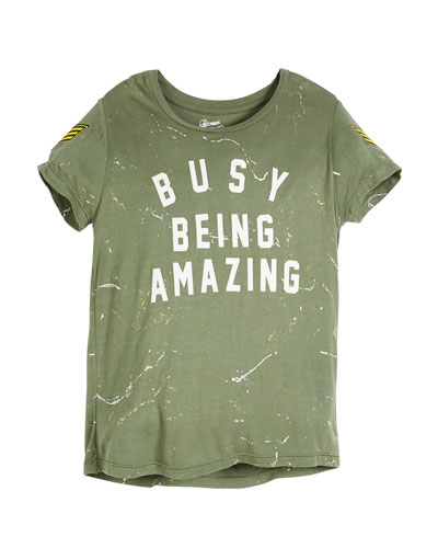 Busy Being Amazing Paint-Splatter Tee, Size S-XL