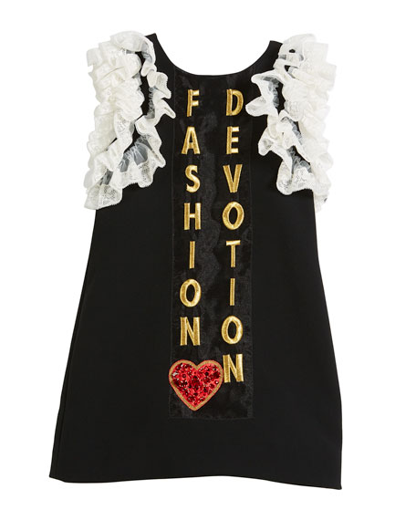 Dolce & Gabbana Fashion Devotion Lace-Trim Dress, Size