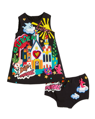 Cathedral Graphic Sleeveless Dress w/ Matching Bloomers, Size 6-30 Months