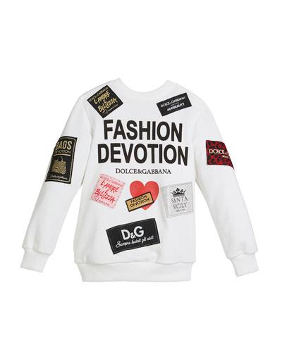 Fashion Devotion Sweatshirt w/ Patches, Size 8-12