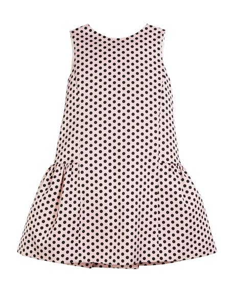 Milly Minis Camellia Polka-Dot Ruffle Party Dress, Size