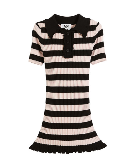 Milly Minis Ribbed Striped Ruffle-Trim Polo Dress, Size