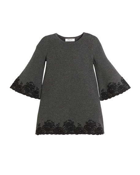 Embroidered Lace Bell-Sleeve Dress, Size 8-14
