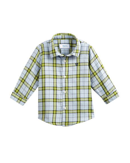 Mayoral Windowpane Checked Button-Down Shirt, Size 6-36 Months