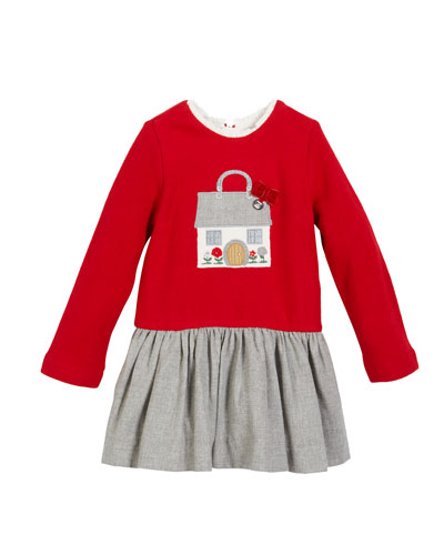 Fleece House Applique Long-Sleeve Dress, Size 12-36 months