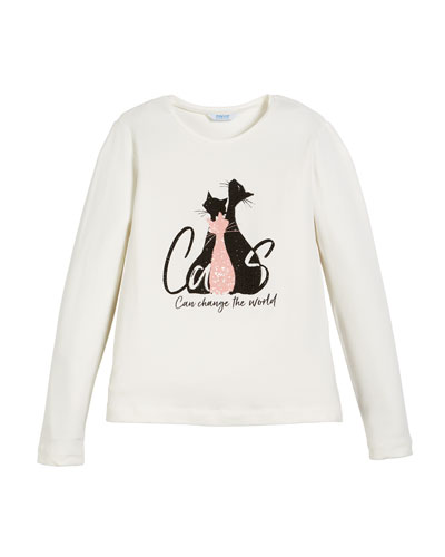 Cats Graphic-Print Long-Sleeve Crewneck T-Shirt, Size 8-16