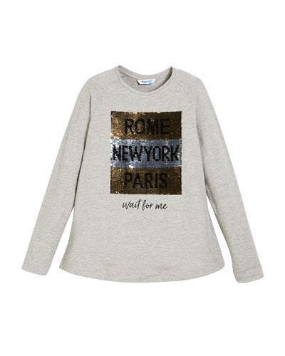 Rome New York Paris Long-Sleeve Tee w/ Sequins, Size 8-12
