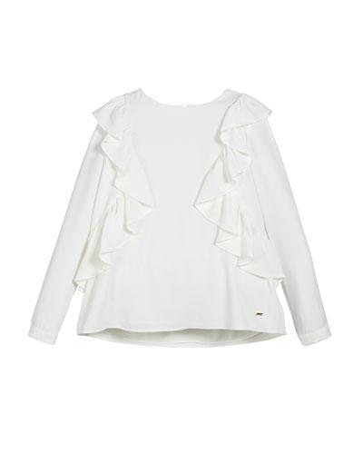 Ruffle-Trim Long-Sleeve Blouse, Size 8-16