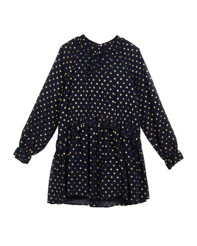 Georgette Metallic Polka-Dot Dress, Size 8-16