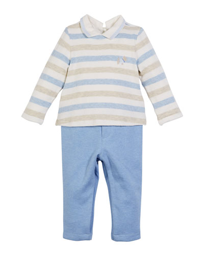 Stripe Velour Top w/ Solid Pants  Size 1-12 Months