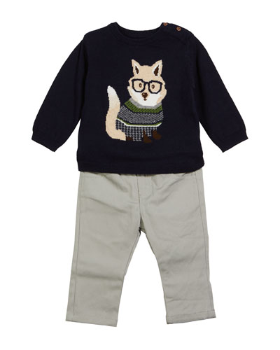 Fox Intarsia Sweater w/ Pants, Size 6-36 Months