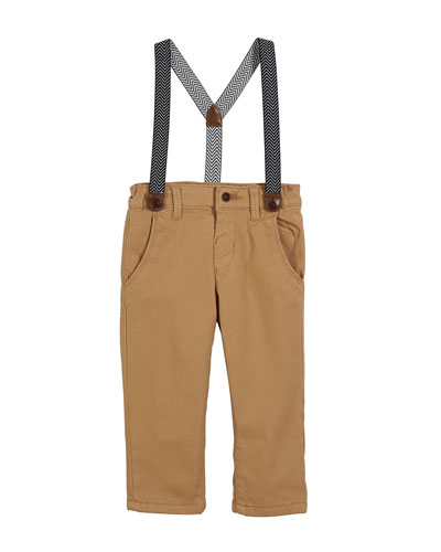 Chino Pants w/ Zigzag Suspenders, Size 6-36 Months