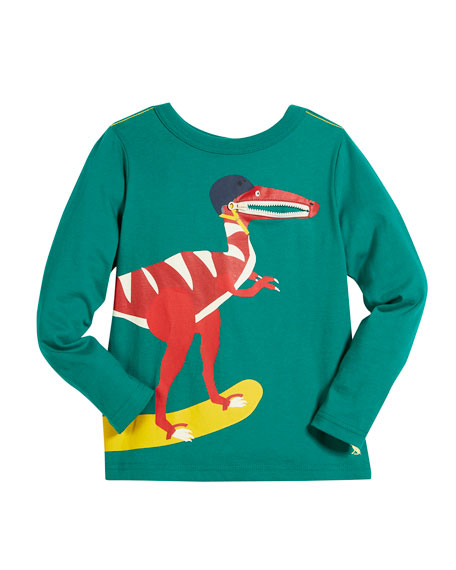 Skateboarding Dino Graphic Long-Sleeve Tee, Size 2-6