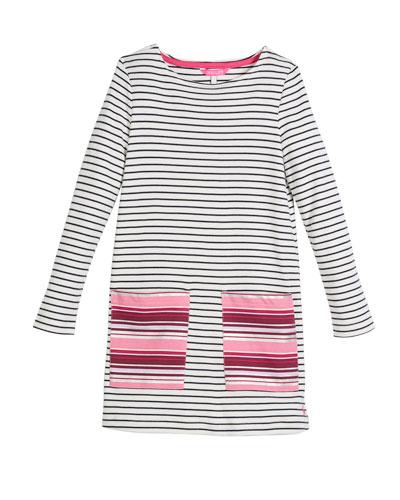 Long-Sleeve Stripe Cotton Shift Dress, Size 3-10
