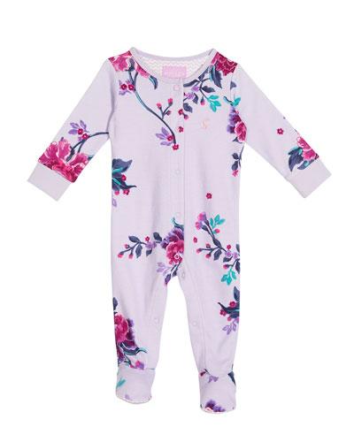 Floral-Print Footie Pajamas, Size 0-12 Months